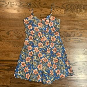 Primark Blue and Pink Floral Button Up Romper